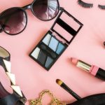women cosmetics and fashion items isolated